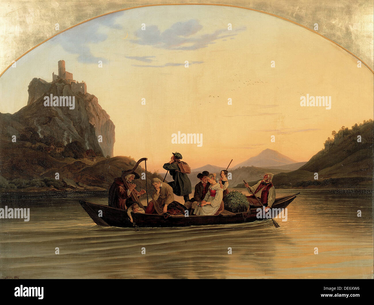 Crossing at Schreckenstein, 1837. Artist: Richter, Adrian Ludwig (1803-1884) - Stock Image