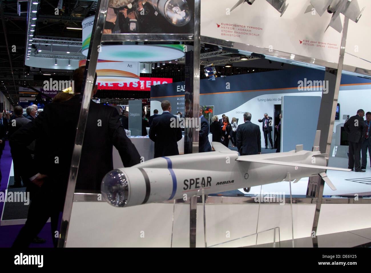 London, UK. 12th September 2013. A missile on display at the Defence and Security Equipment (DSEI) arms fair at Stock Photo