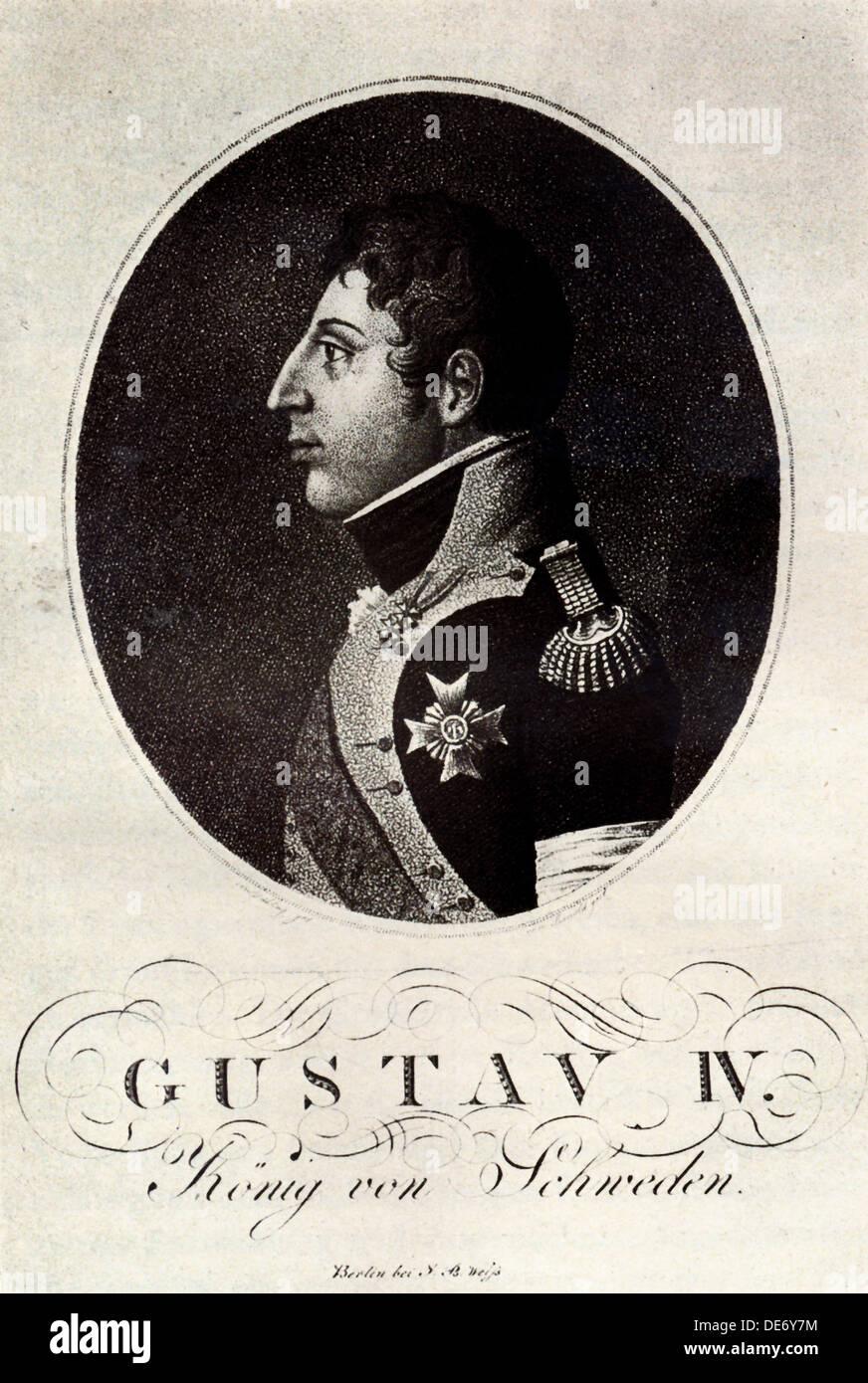 Portrait of Gustav IV Adolf of Sweden, Early 19th cen.. Artist: Anonymous Stock Photo