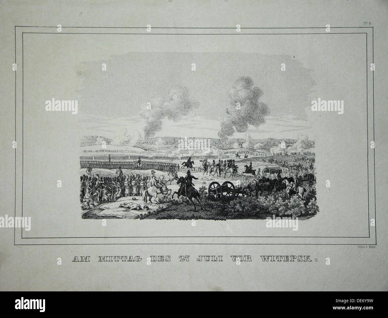 Battle between Russian troops and French cavalry near Ostrovno 25-26 July 1812. Artist: Anonymous Stock Photo