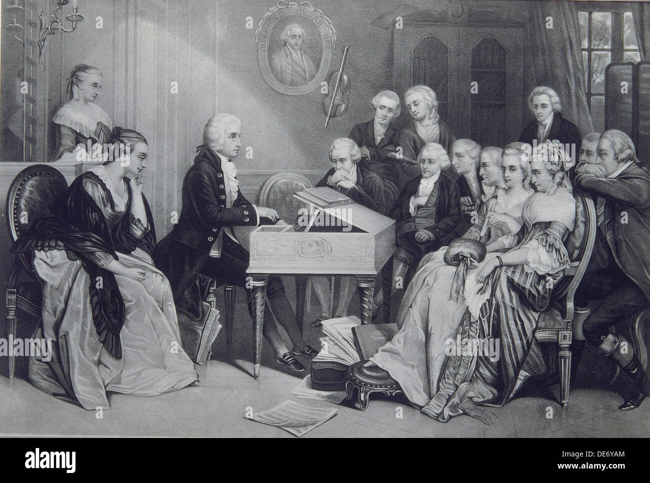 House Concert at the Mozart family in Vienna, 19th century. Artist: Anonymous - Stock Image