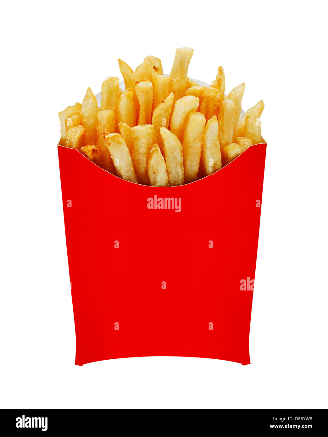 French Fries or Chips originally called pommes frites and more recently named freedom fries in america in a red serving carton - Stock Image