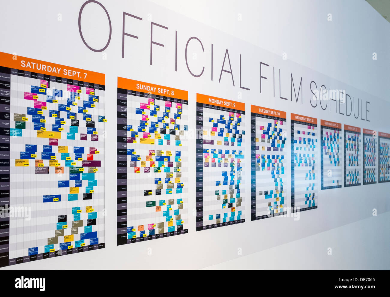 The Official Film Schedule at the TIFF Bell Lightbox during the 2013 Toronto International Film Festival - Stock Image