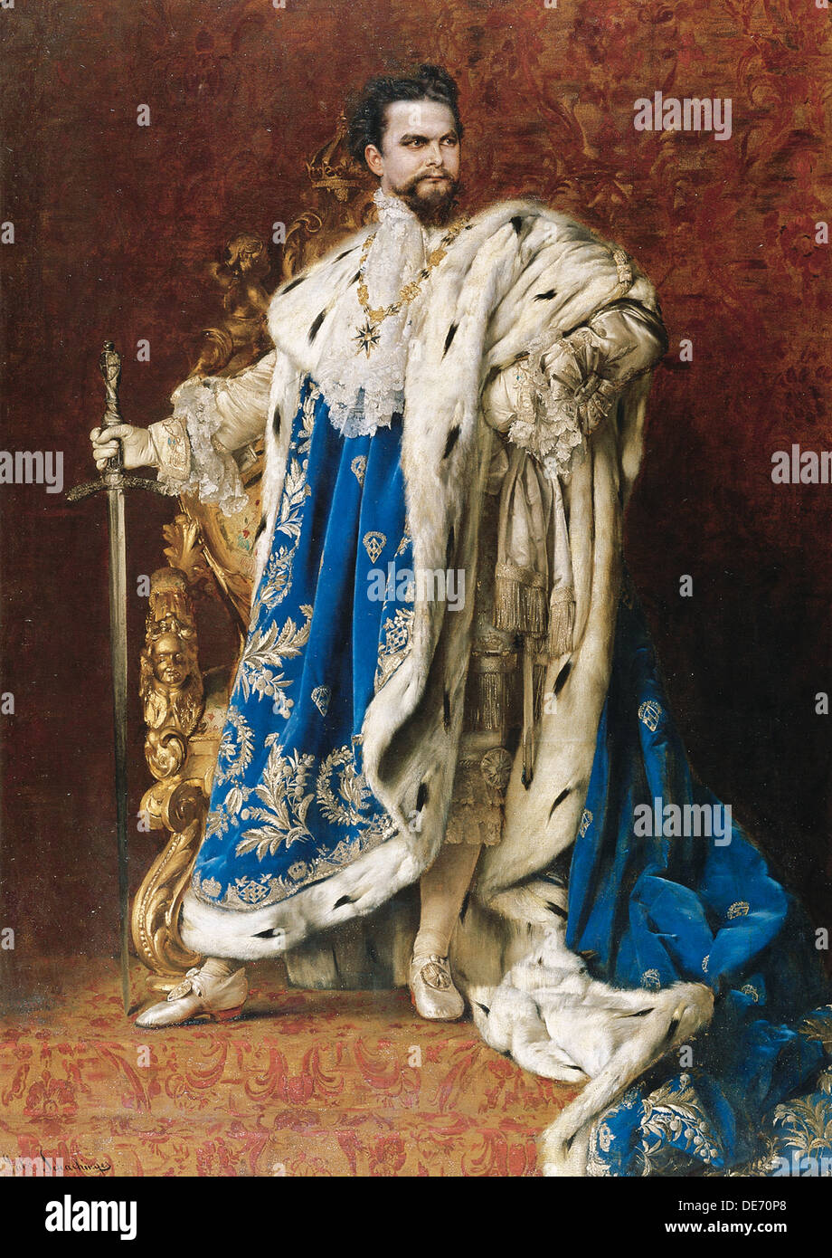 Ludwig II as the Grand Master of the Order of the Knights of St George, 1887. Artist: Schachinger, Gabriel (1850-1913) - Stock Image