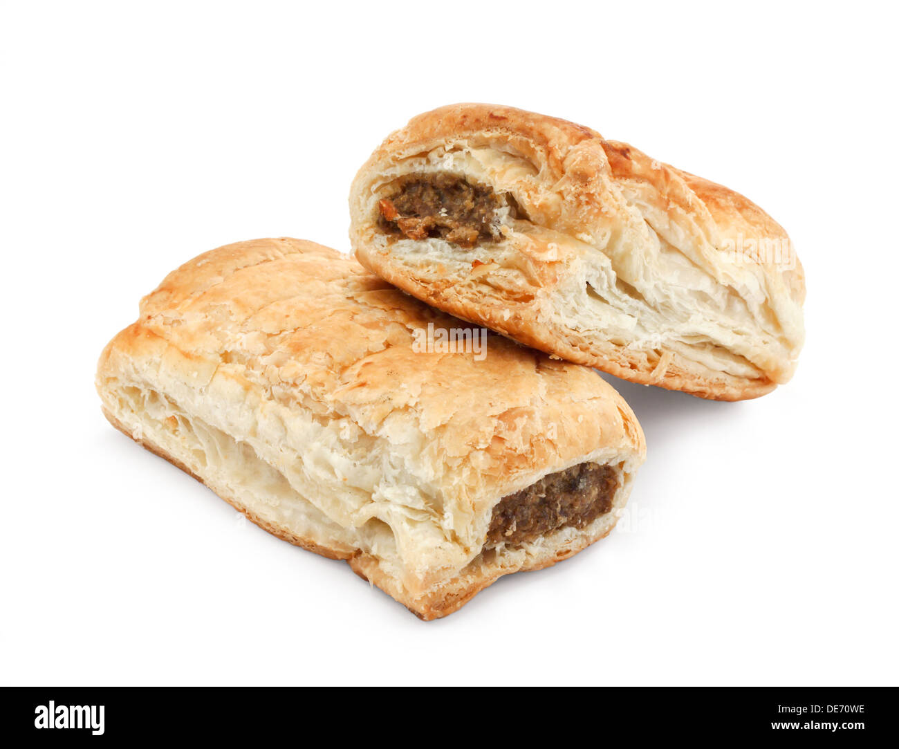 Pair of sausage rolls a popular snack in britain available freshly baked from bakers - Stock Image