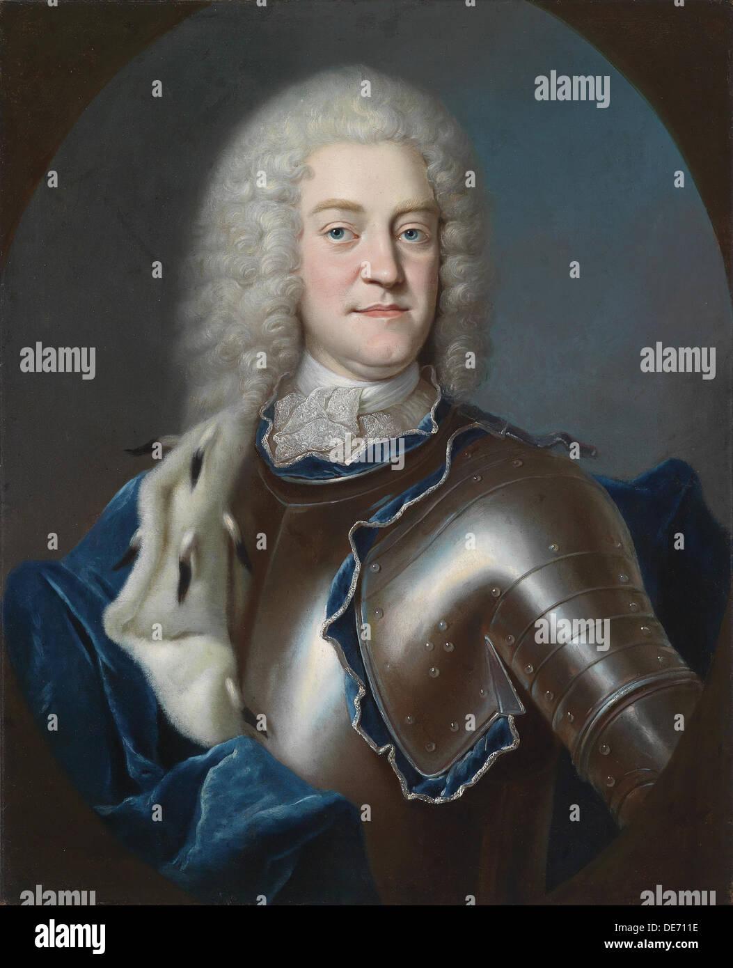 Portrait of Christian Ludwig II, (1683-1756) Duke of Mecklenburg, 1731-1732. Artist: Weissmann, Georg (1706-1760) - Stock Image