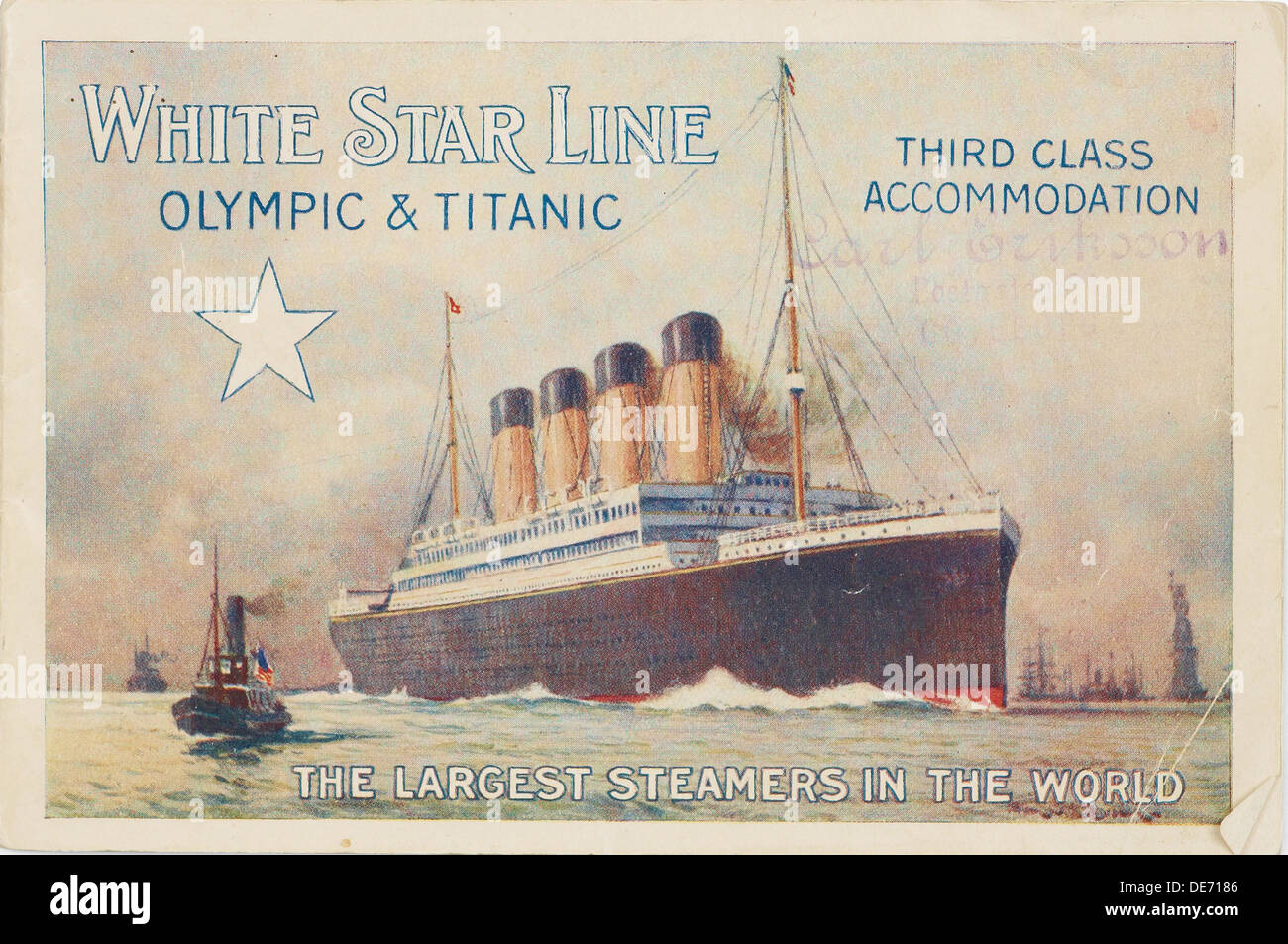 White Star Line. Titanic & Olympic, c. 1910. Artist: Anonymous - Stock Image