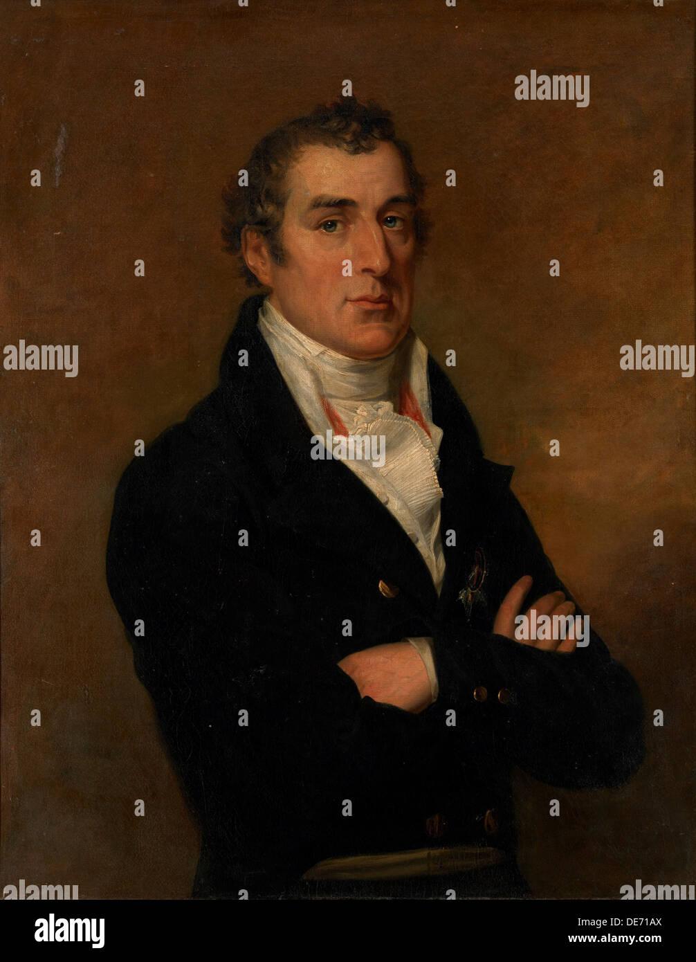 Portrait of Arthur Wellesley (1769-1852), 1st Duke of Wellington. Artist: Dawe, George (1781-1829) - Stock Image