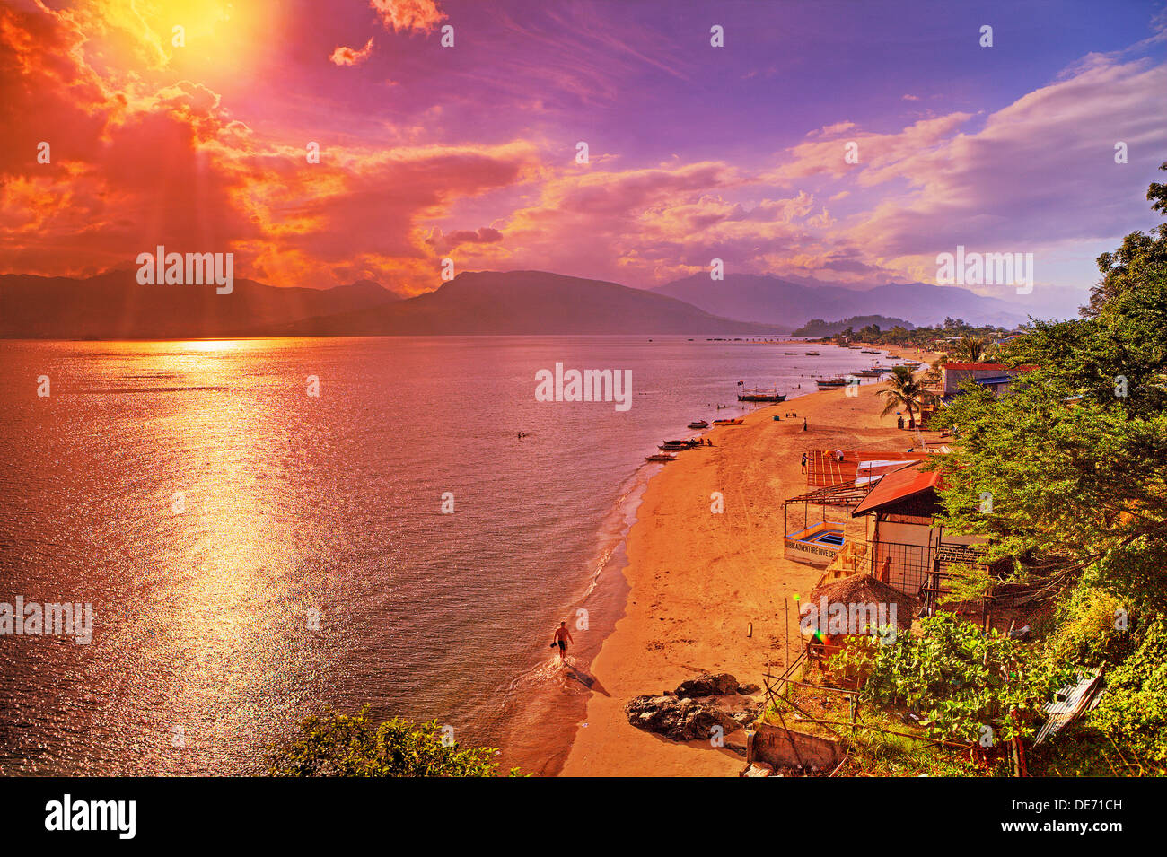 Vibrant colors of sunset over Subic Bay, Luzon Island, Philippines. - Stock Image