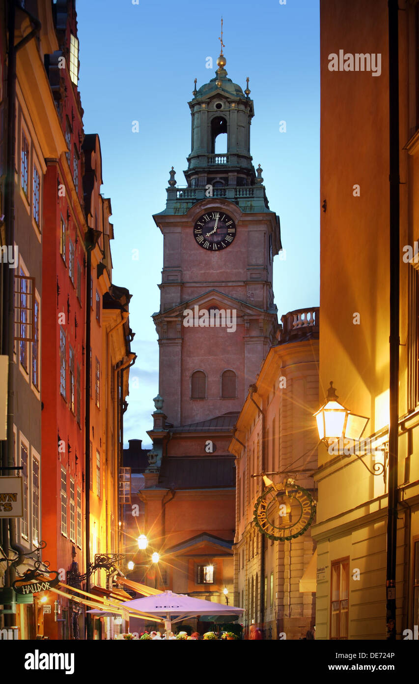 Stockholms old city at night - Stock Image