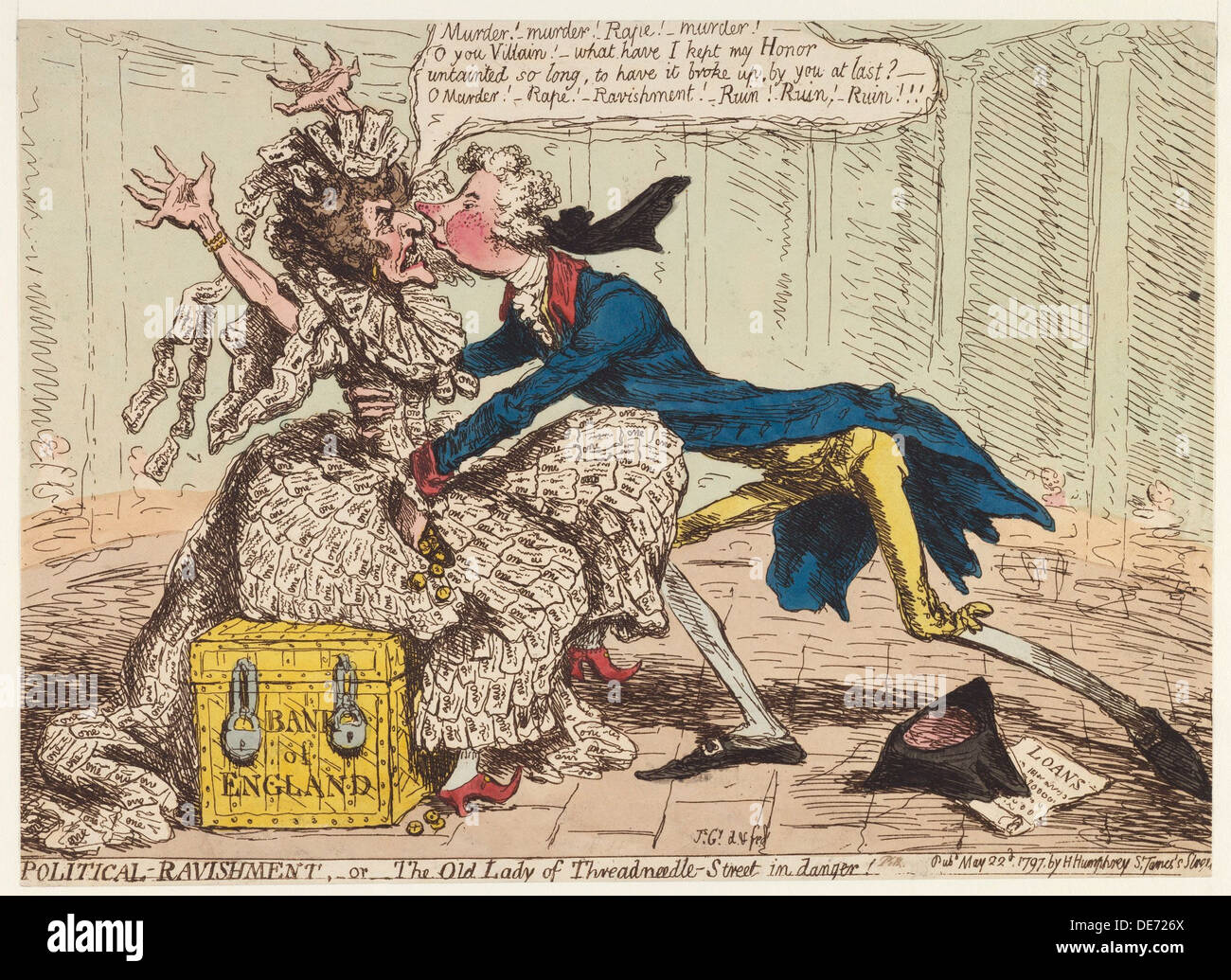 Political Ravishment, or the Old Lady of Threadneedle Street in Danger!, 1797. Artist: Gillray, James (1757-1815) - Stock Image