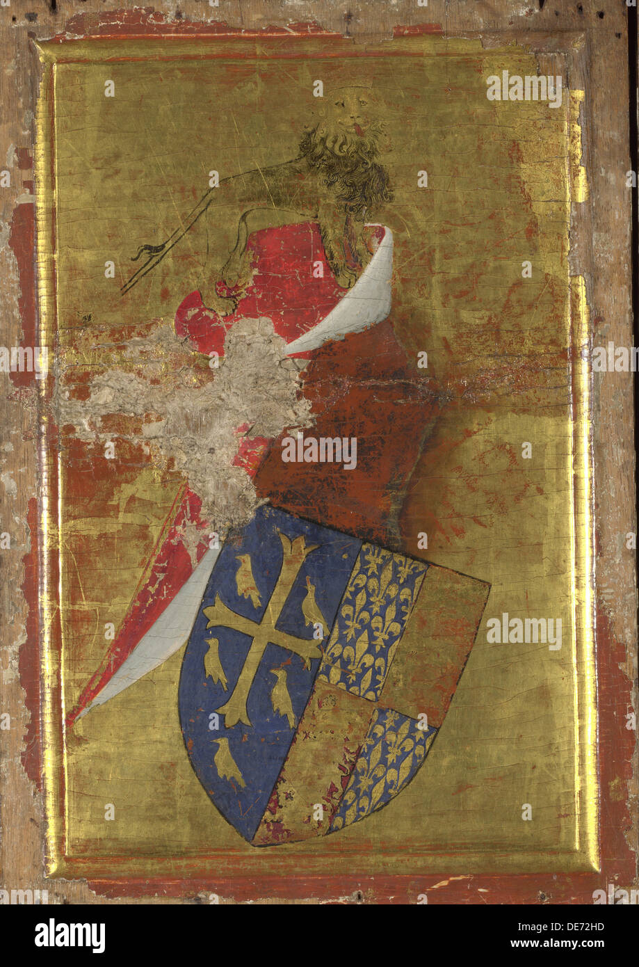 The coat of arms of Richard II of England (The outside panel of the Wilton Diptych), Between 1395 and 1399. Artist: Wilton Maste - Stock Image