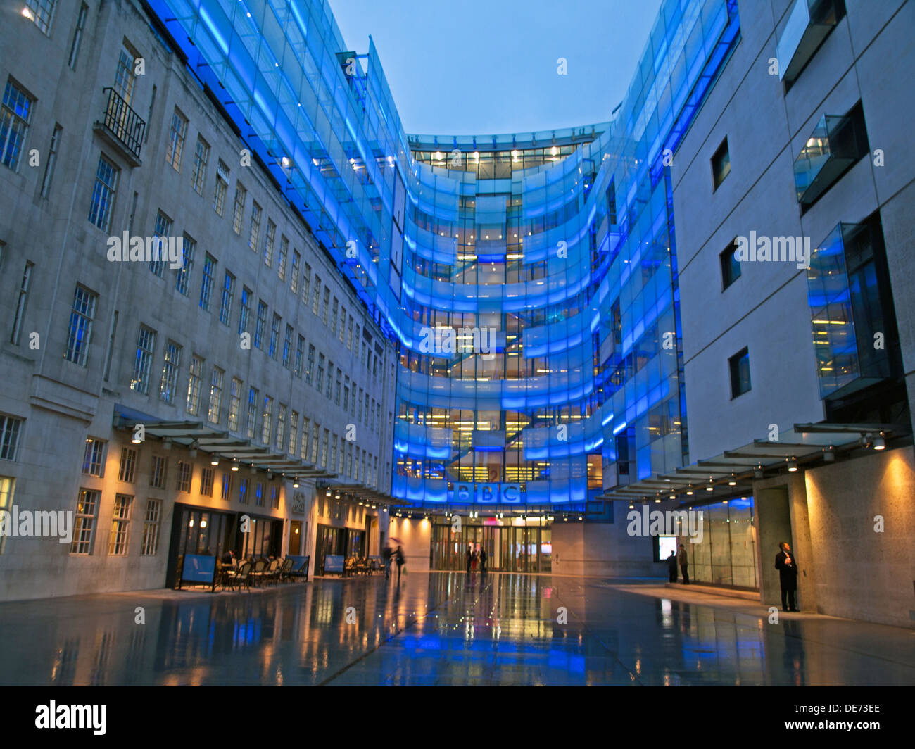 Illuminated view of the BBC Broadcasting House East Wing, Langham Place, City of Westminster, London, England, United Stock Photo