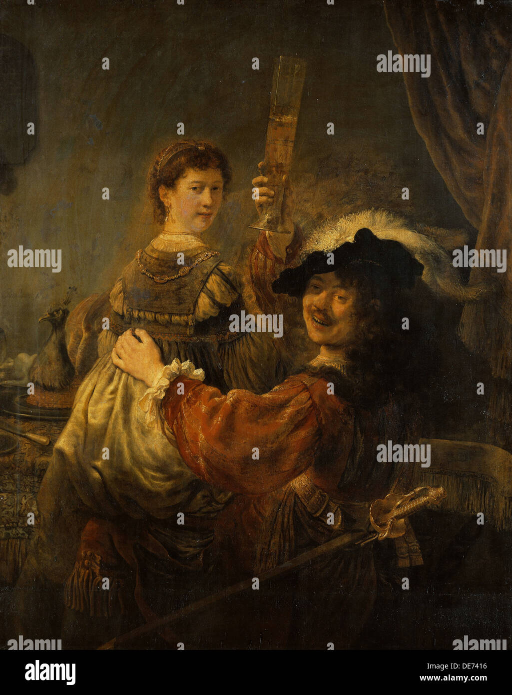 Rembrandt and Saskia in the parable of the Prodigal Son, c. 1635. Artist: Rembrandt van Rhijn (1606-1669) - Stock Image