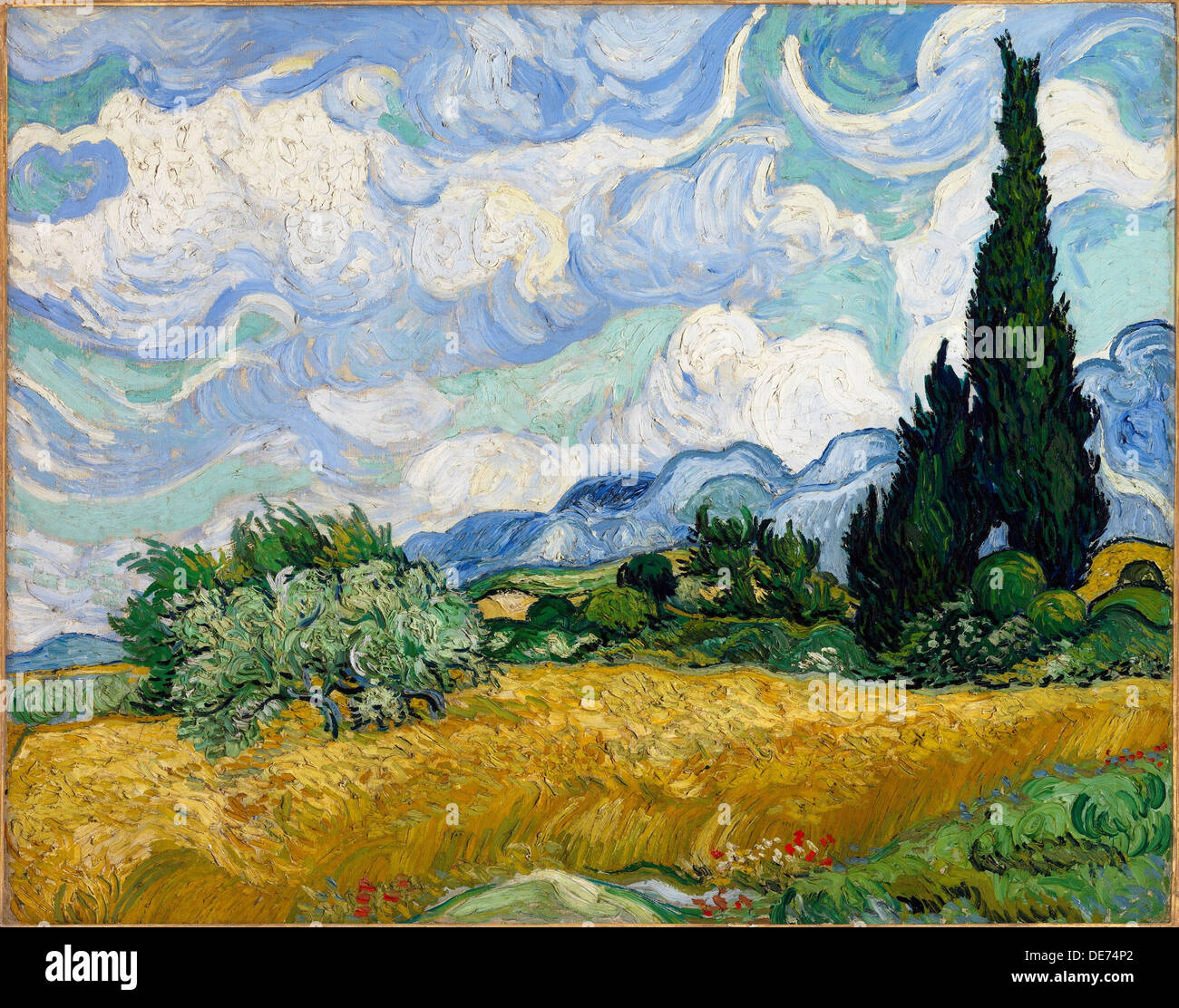 Wheat Field with Cypresses, 1889. Artist: Gogh, Vincent, van (1853-1890) - Stock Image