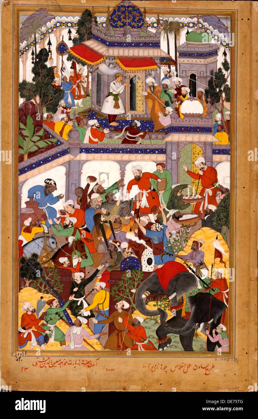 Akbar visits the shrine of Khwajah Mu'in ad-Din Chishti at Ajmer, ca 1590. Artist: Basawan (active 1580-1600) - Stock Image