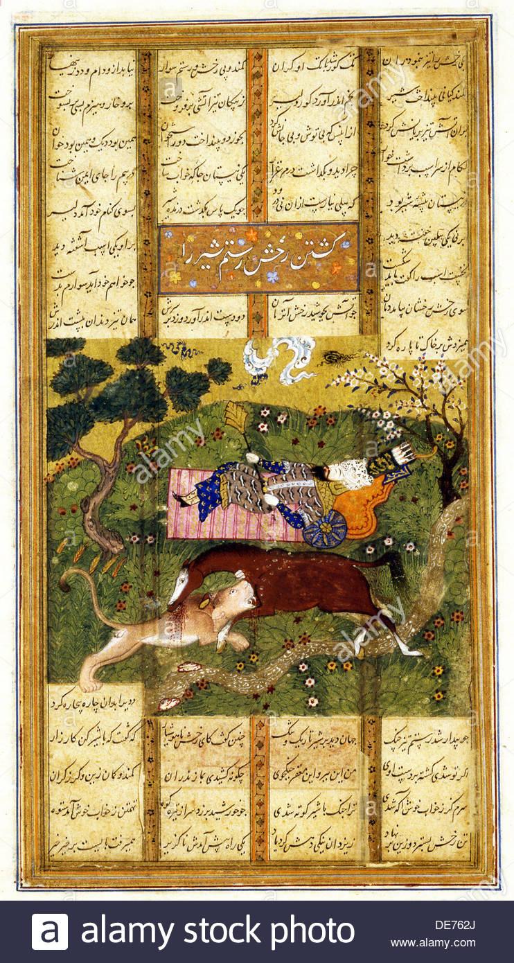 Rakhsh Kills an Attacking Lion While Rustam Sleeps. From the Shahnama (Book of Kings), ca 1470. Artist: Iranian master - Stock Image