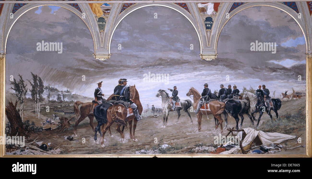 The Battle of Solferino, 1886. Artist: Cassioli, Amos (1832-1891) - Stock Image
