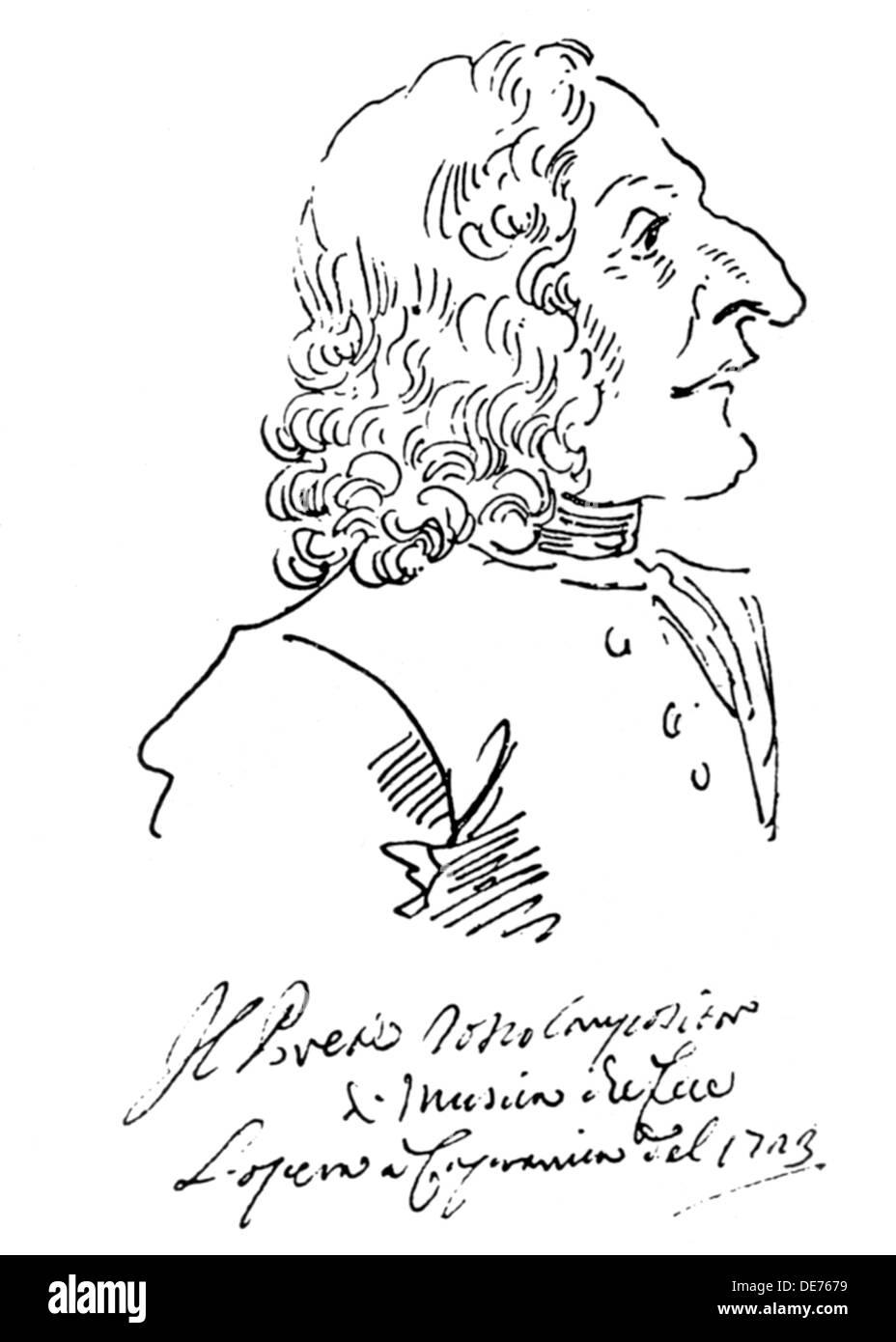 Caricature of composer Antonio Vivaldi, 1723. Artist: Ghezzi, Pier Leone (1674-1755) - Stock Image