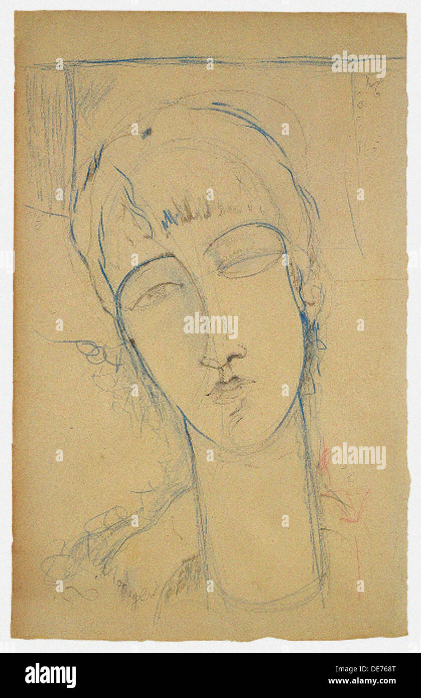 Anna Akhmatova (Ritratto di Donna Rossa), 1915. Artist: Modigliani, Amedeo (1884-1920) - Stock Image