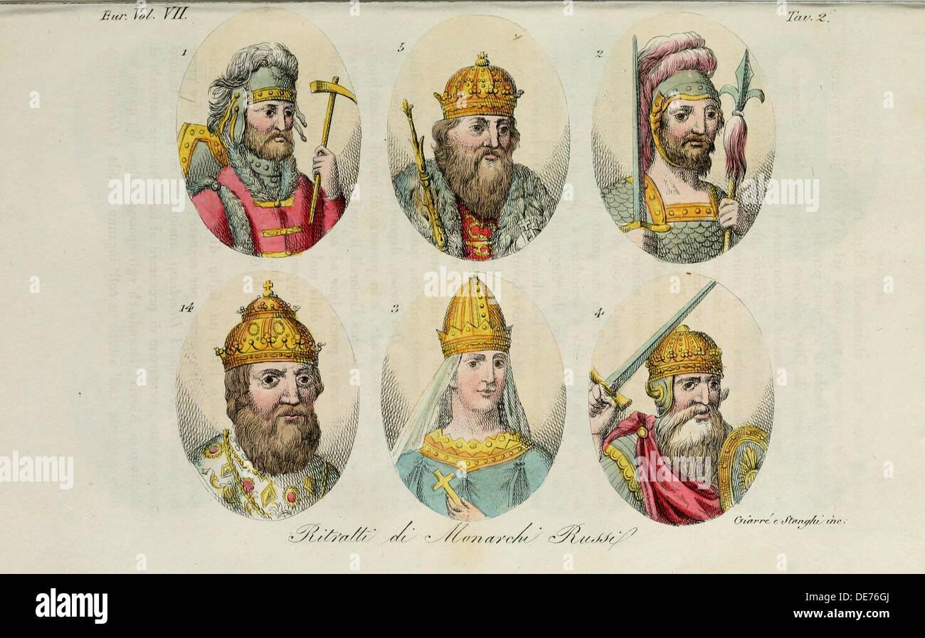1. Rurik 2. Igor of Kiev 3. Olga 4. Sviatoslav 5. Vladimir the Great 14. Ivan IV (from Il costume antico… by Giulio Ferrario), - Stock Image
