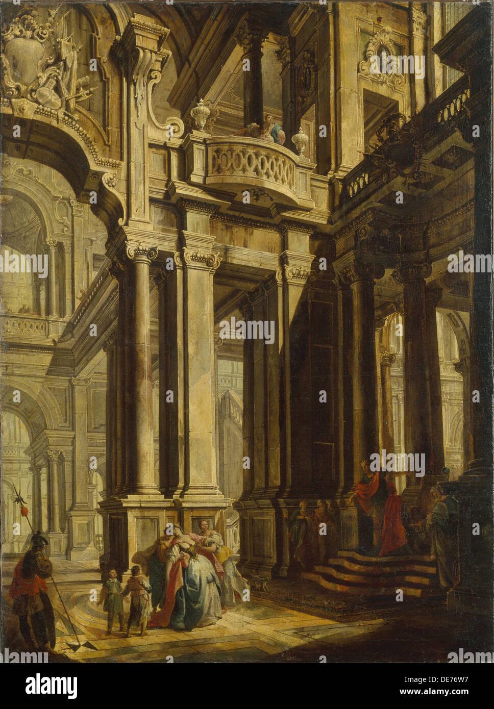 Esther before Ahasuerus. Artist: Bigari, Vittorio Maria (1692-1776) - Stock Image