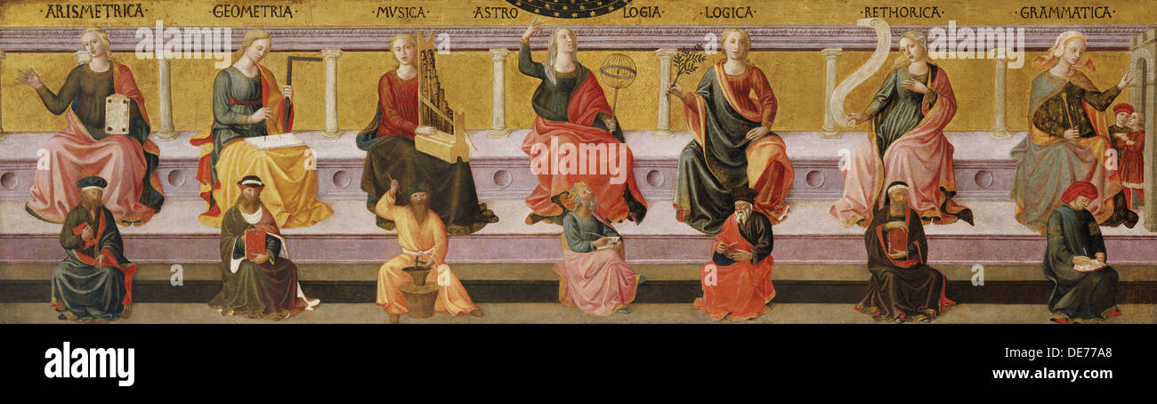 The Seven Liberal Arts, c. 1450. Artist: Pesellino, Francesco di Stefano (1422-1457) - Stock Image