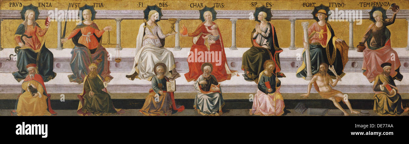 The Seven Virtues, c. 1450. Artist: Pesellino, Francesco di Stefano (1422-1457) - Stock Image