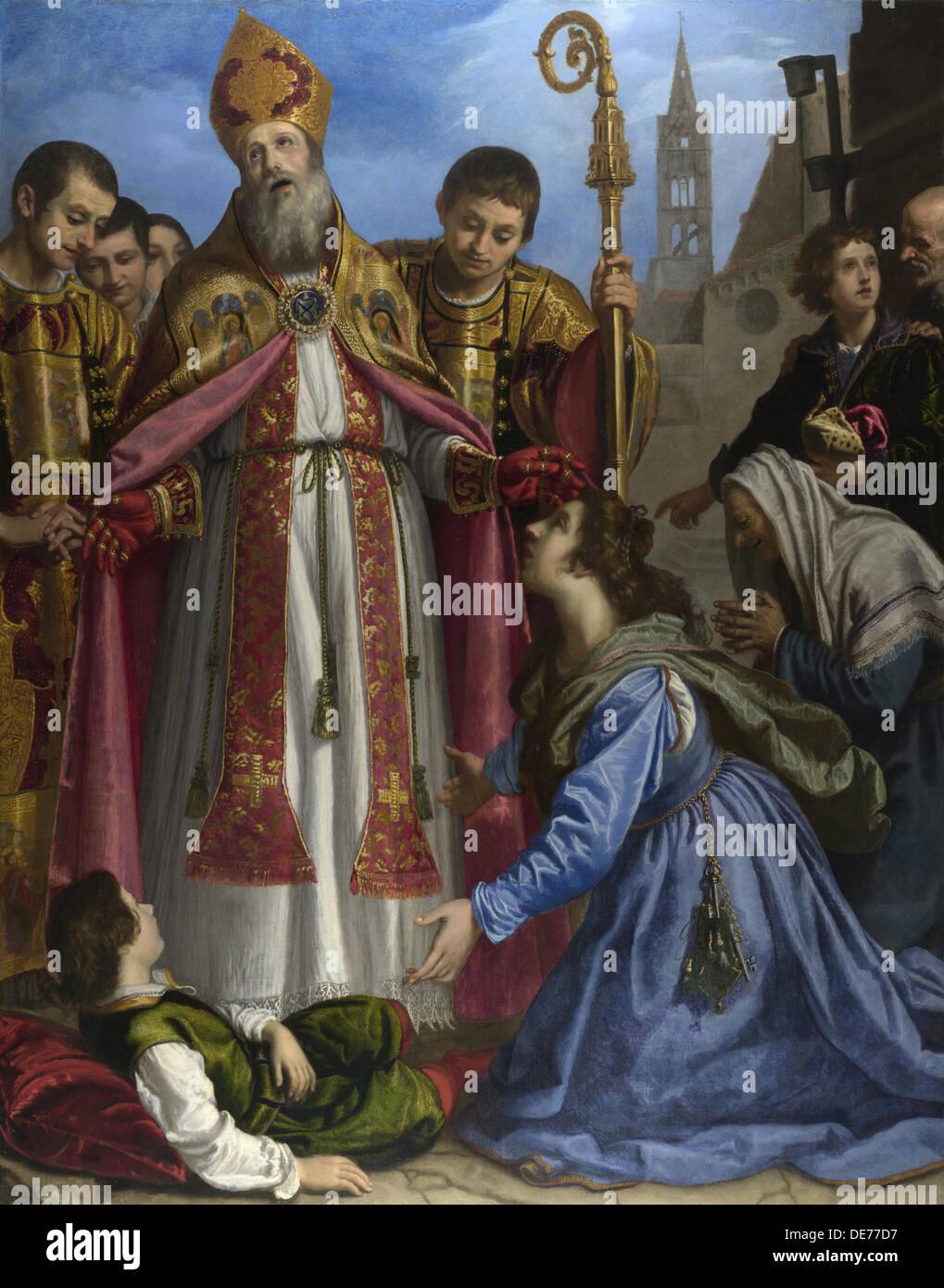 Saint Zenobius revives a Dead Boy, c. 1615. Artist: Bilivert, Giovanni (1585-1644) - Stock Image
