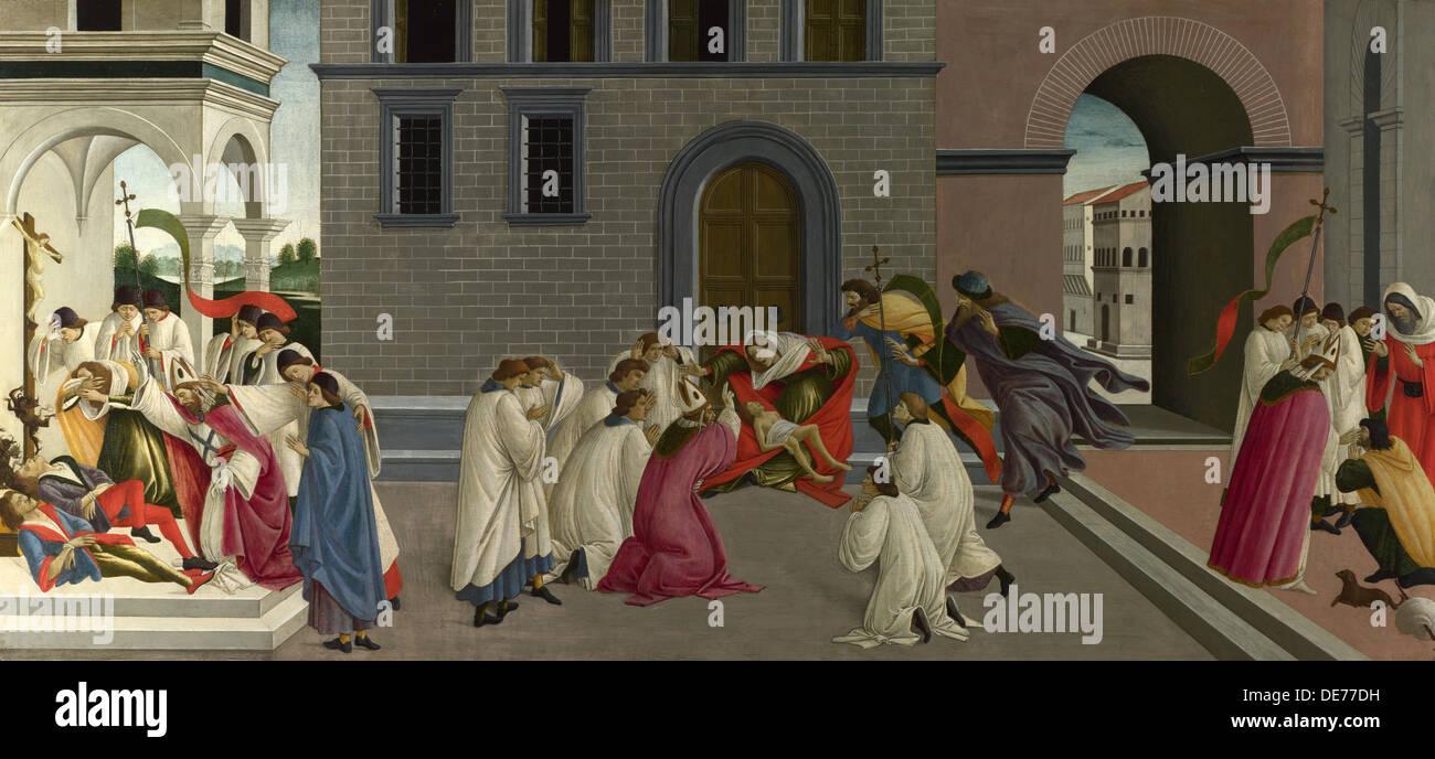 Three Miracles of Saint Zenobius, c. 1500. Artist: Botticelli, Sandro (1445-1510) - Stock Image