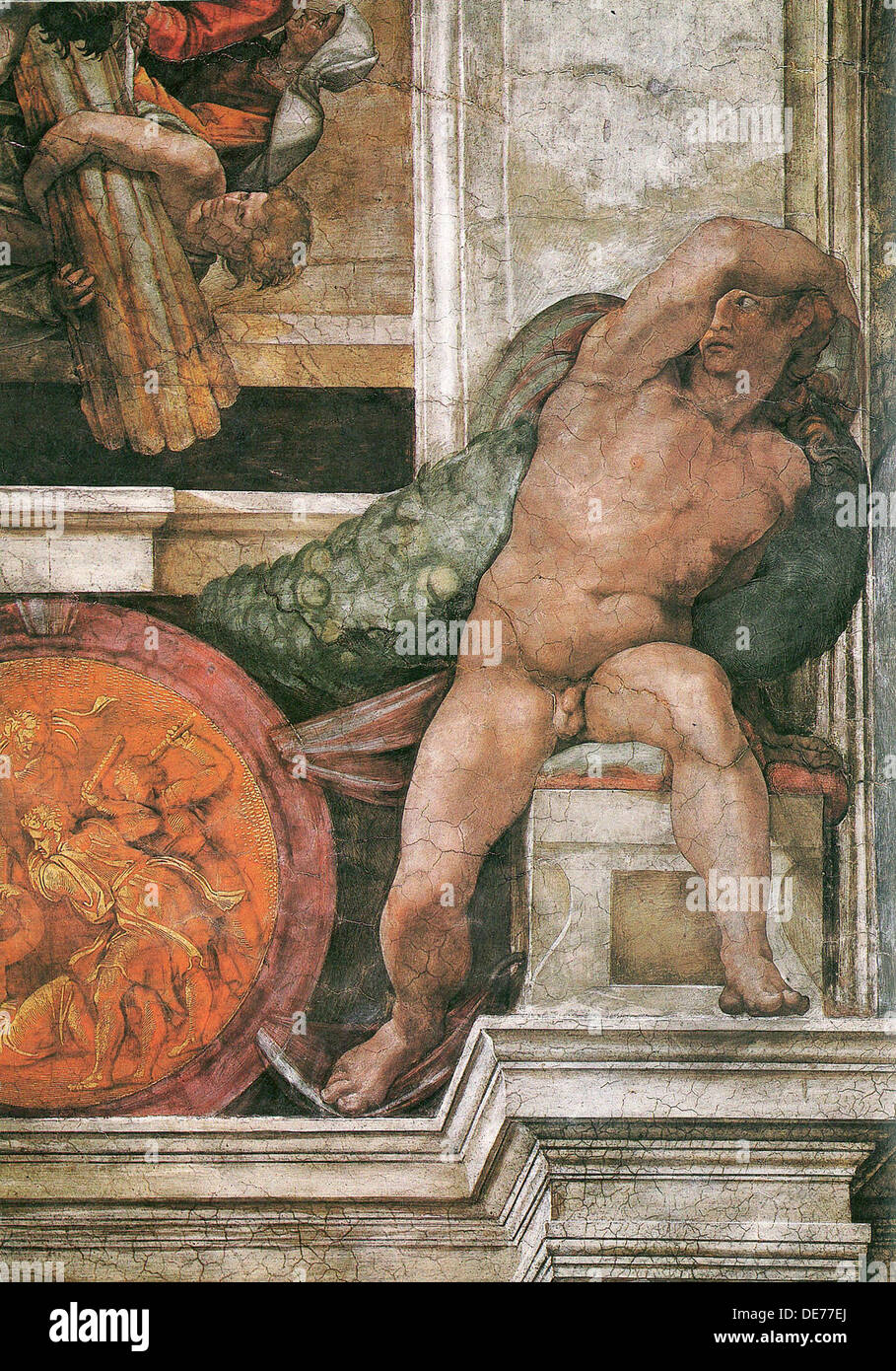 Detail Of The Sistine Chapel Ceiling In The Vatican 1508