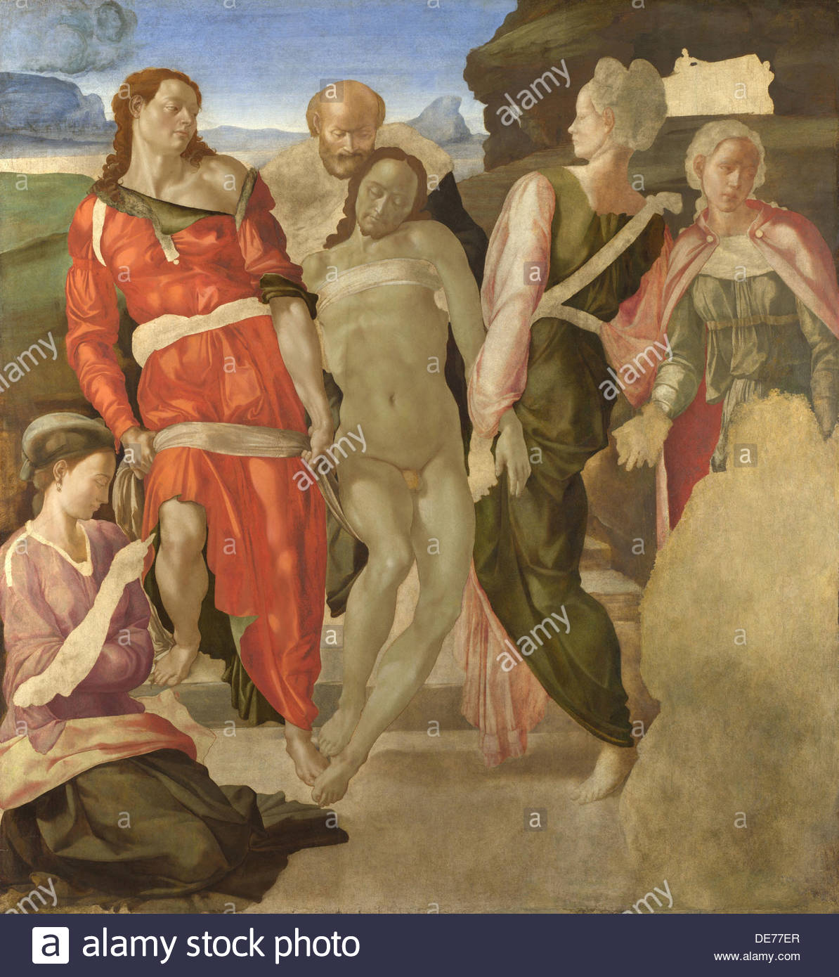 The Entombment of Christ, c. 1500. Artist: Buonarroti, Michelangelo (1475-1564) - Stock Image