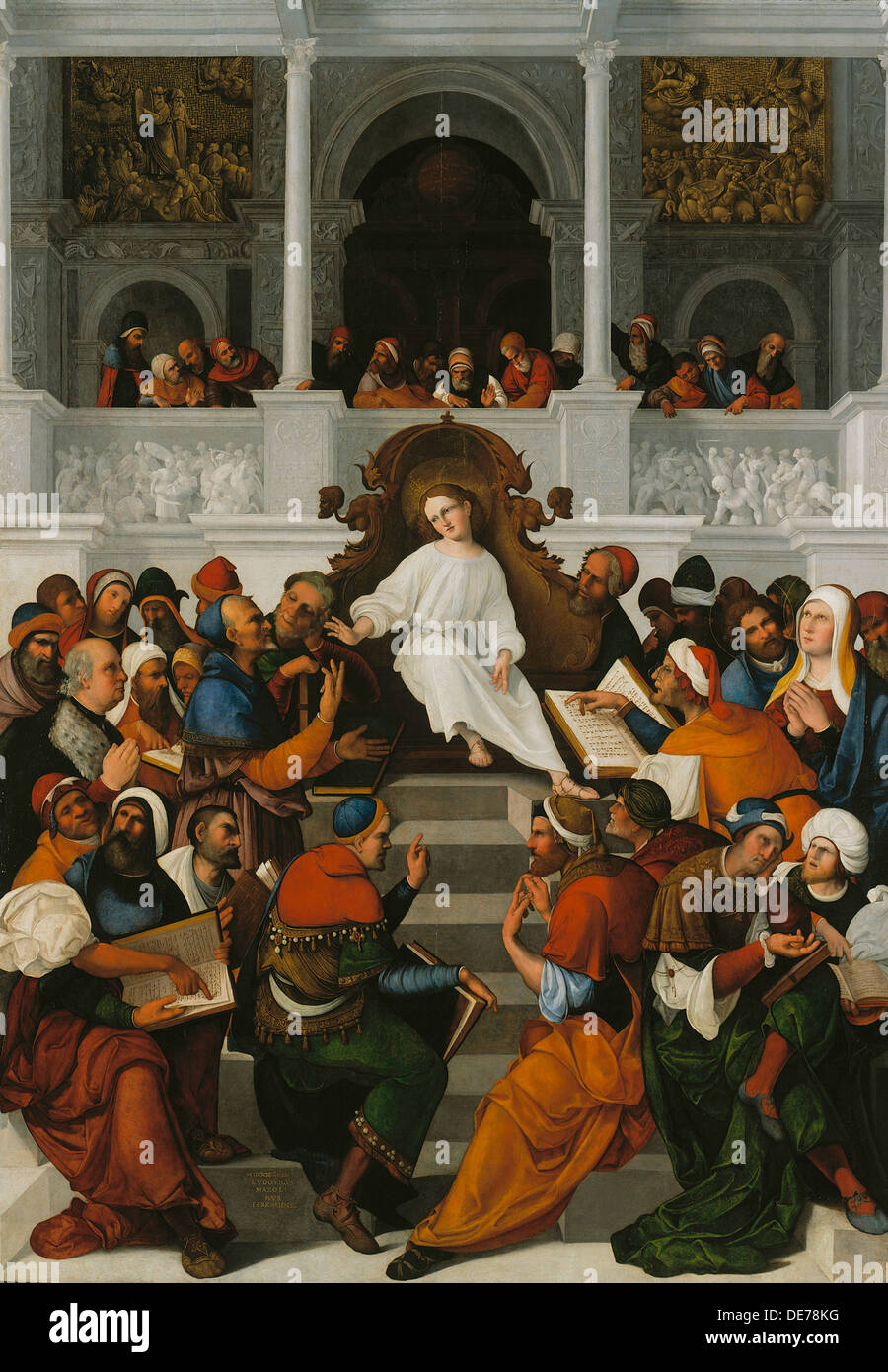 The Twelve-Year-Old Jesus Teaching in the Temple, 1524. Artist: Mazzolino, Ludovico (1480-1528) - Stock Image