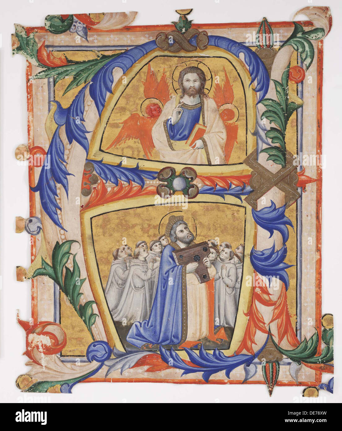 Christ appearing to David and a group of Camaldolese monks, 1390-1410. Artist: Andrea di Bartolo (bef. 1389-1428) - Stock Image