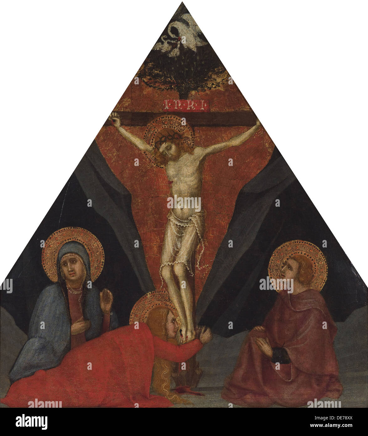 The Crucifixion with the Virgin, Mary Magdalene and St. John the Evangelist, ca 1400. Artist: Andrea di Bartolo (bef. 1389-1428) - Stock Image