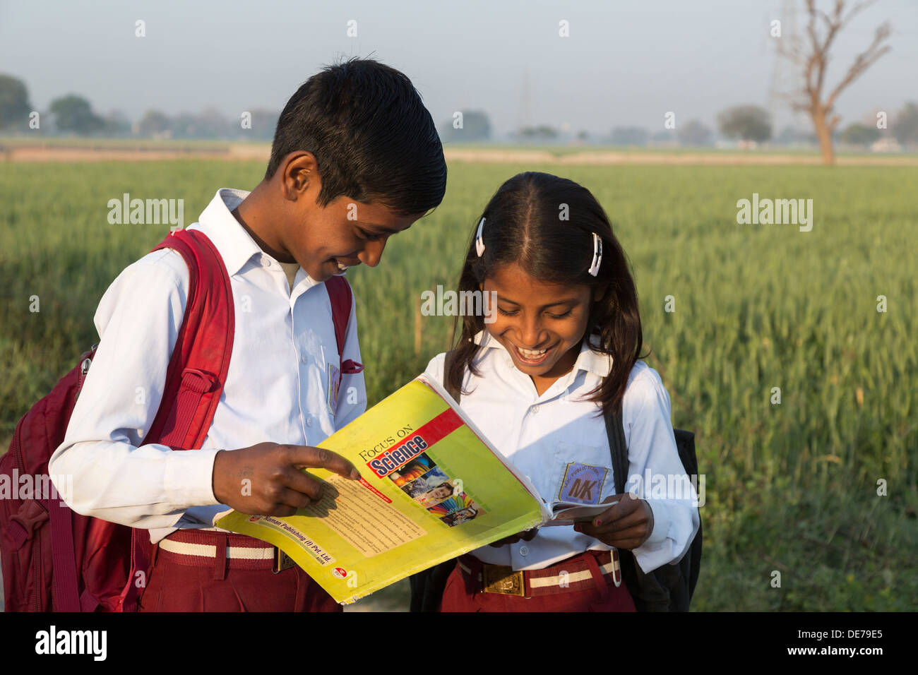 India, Uttar Pradesh, Agra, young brother & sister in school uniform looking at text books - Stock Image