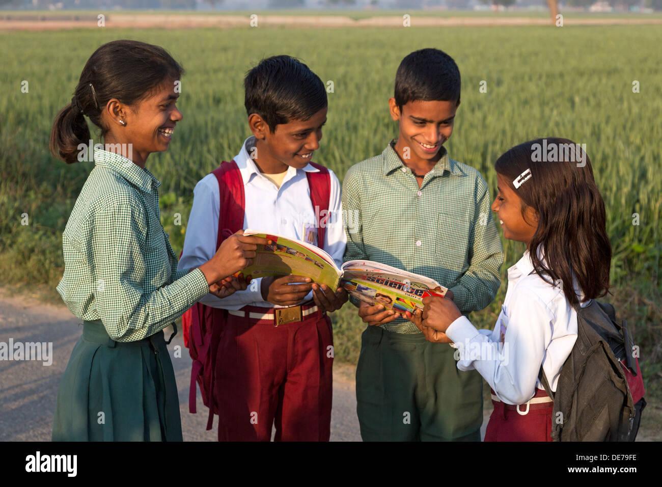 India, Uttar Pradesh, Agra, village children in school uniform looking at indian textbook - Stock Image