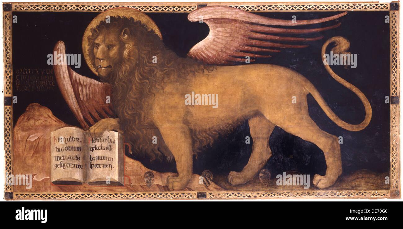 The Lion of Saint Mark. Artist: Jacobello del Fiore (ca 1370 – 1439) - Stock Image