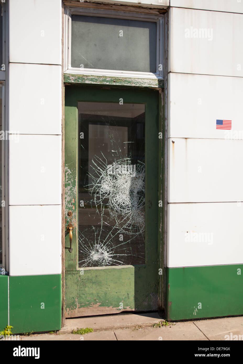 Broken Glass Door   Stock Image