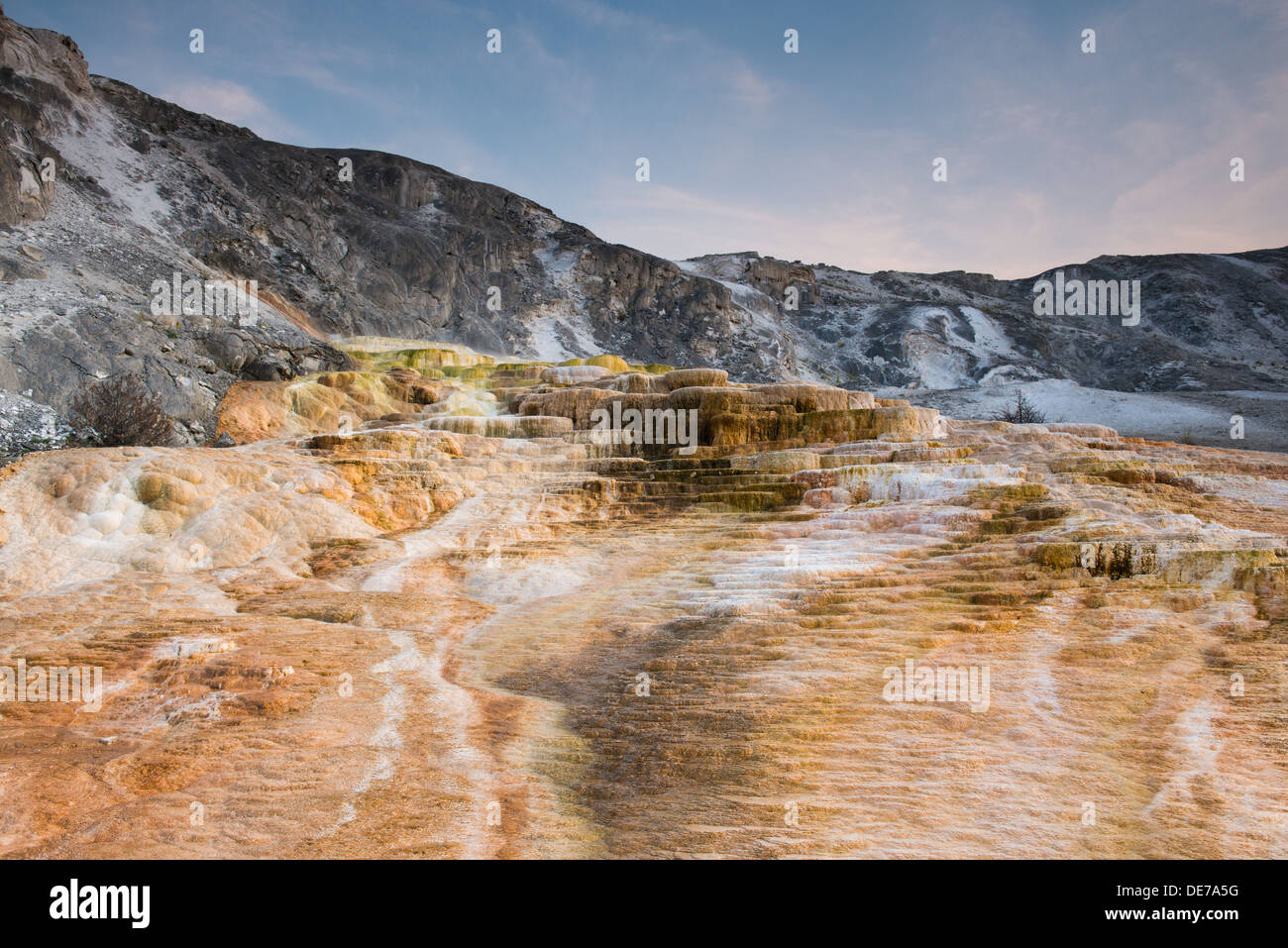 Photograph of Cleopatra Terrace shot with a wide angle lens. Yellowstone National Park. - Stock Image