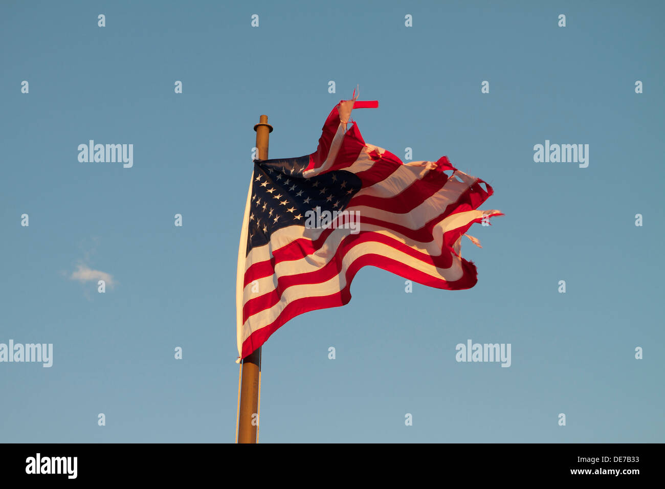 A old torn and tattered American flag flying on a flagpole - Stock Image