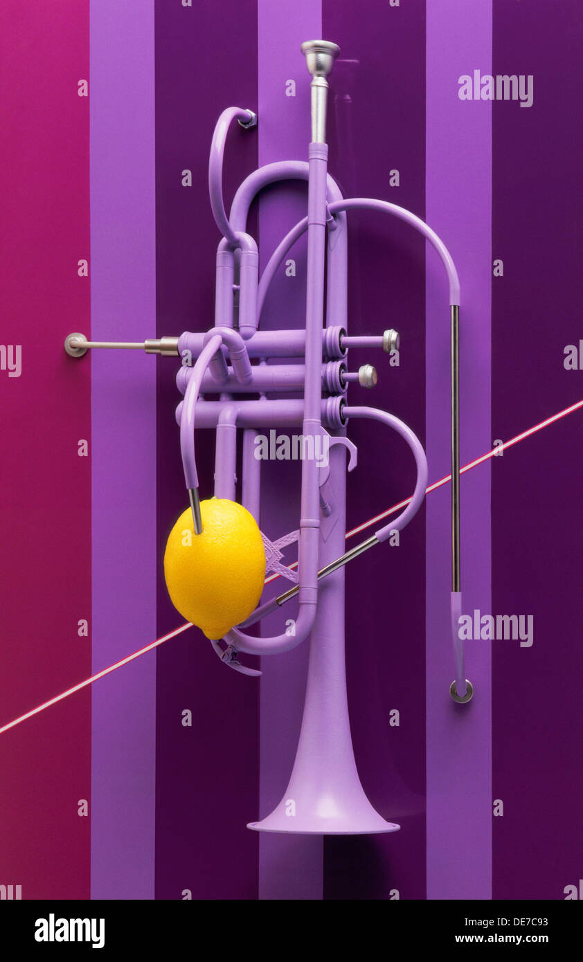 Jazz trumpet installation - Stock Image