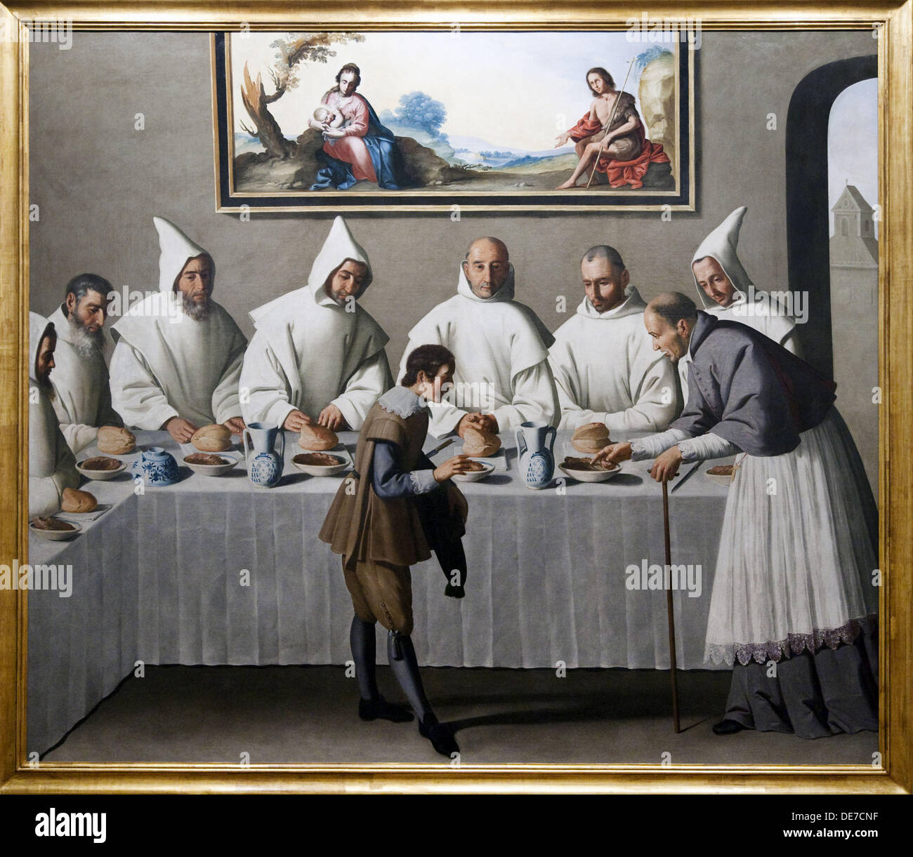 St  Hugh of Cluny in The Refectory of The Carthusians 1633, by Francisco de Zurbarán, Fine Arts Museum, Seville, Spain - Stock Image
