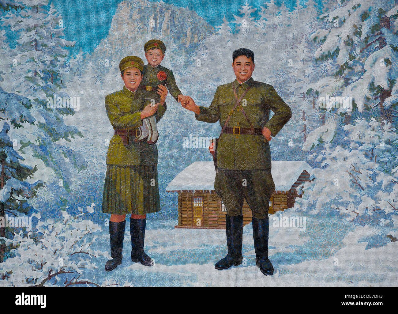 Happy Family. Kim Il-sung and his wife Kim Jong-suk with son Kim Jong-Il, 1960s. Artist: Anonymous - Stock Image