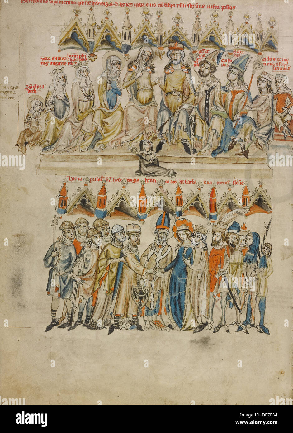 Family of Berthold IV of Merania. The Marriage of Hedwig and Heinrich, 1353. Artist: Court workshop of Duke Ludwig I of Liegnitz - Stock Image