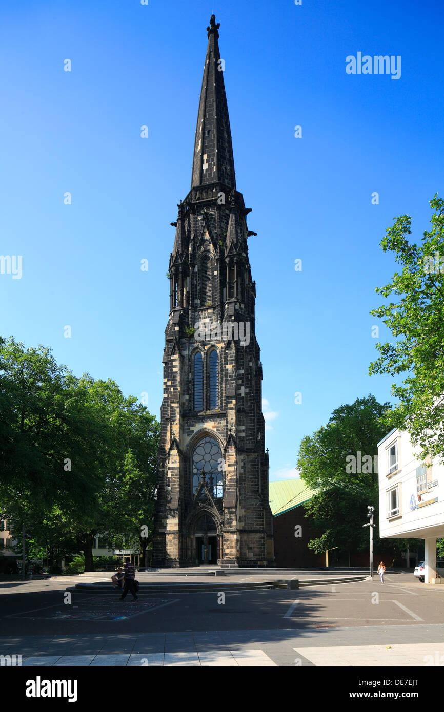 Mahnmal gegen den Krieg, evangelische Christuskirche in Bochum, Ruhrgebiet, Nordrhein-Westfalen - Stock Image