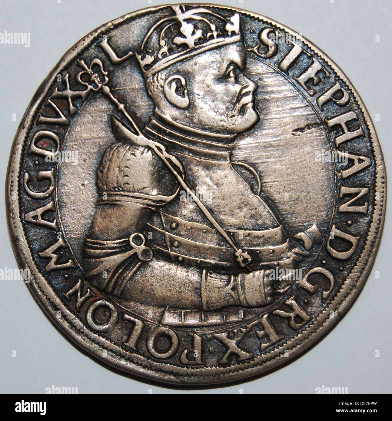 The Thaler of Stephen Báthory, King of Poland (Obverse), 1580. Artist: Numismatic, West European Coins - Stock Image