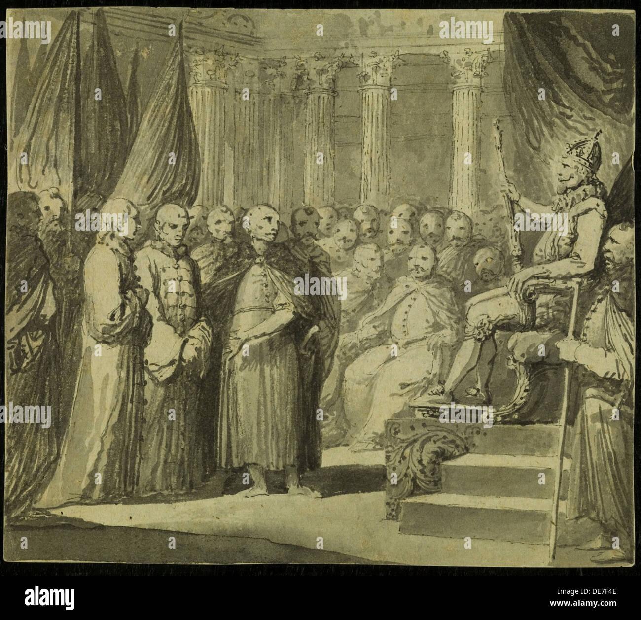 Tsar Vasili IV Ivanovich Shuisky before the King Sigismund III Vasa, Late 18th cent.. Artist: Smuglewicz, Franciszek (1745-1807) - Stock Image