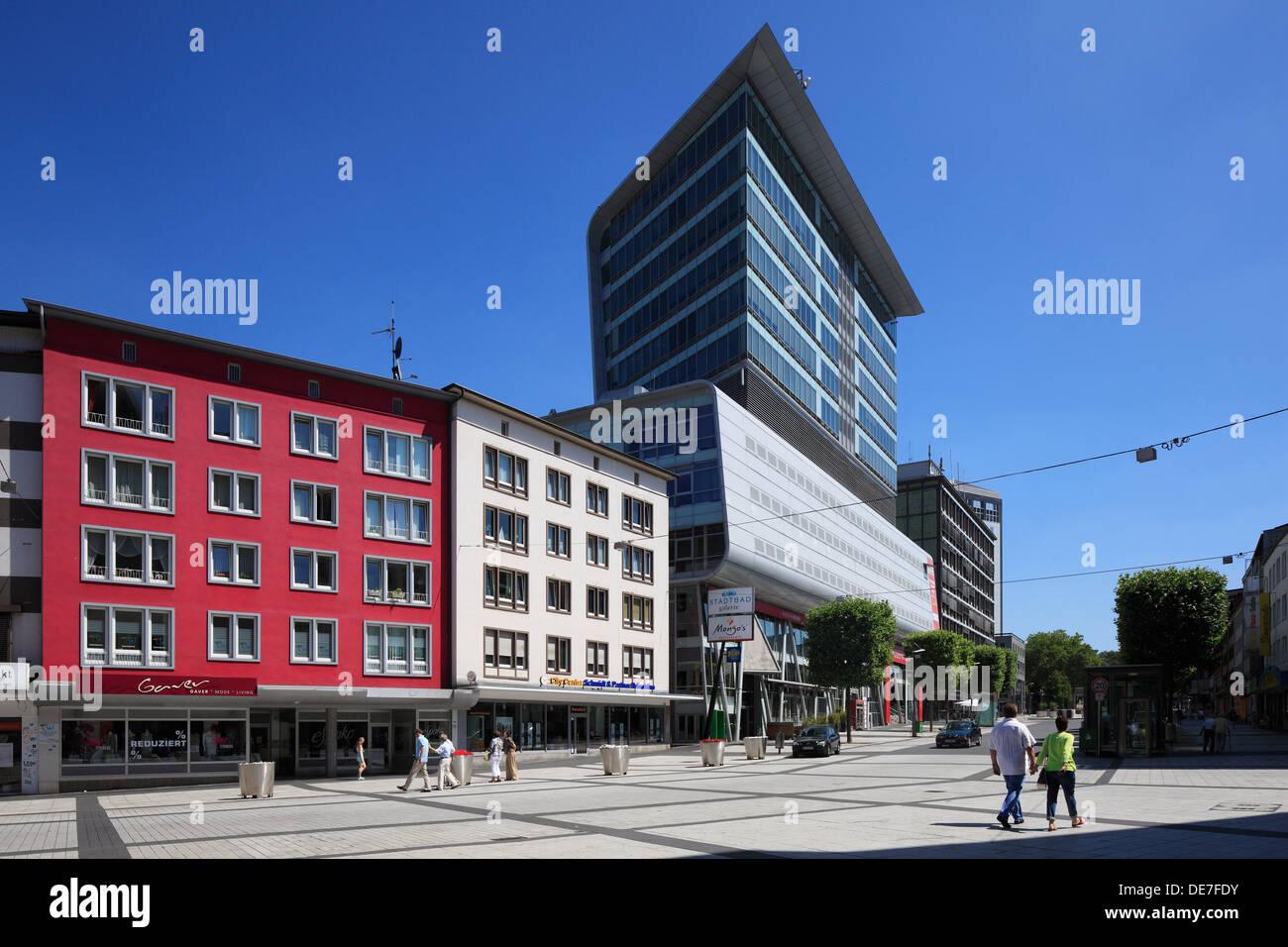 Stadtbadgalerie, 'Bochumer Fenster', Multifunktionsgebaeude im Stadtzentrum von Bochum, Ruhrgebiet, Nordrhein-Westfalen - Stock Image