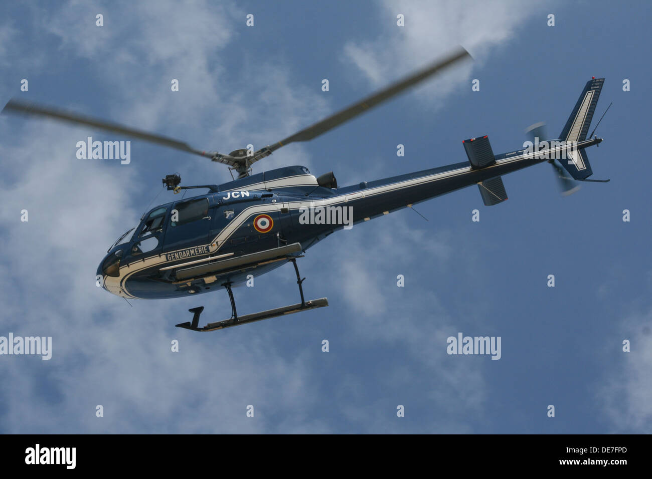 French Gendarmerie helicopter in the sky. - Stock Image